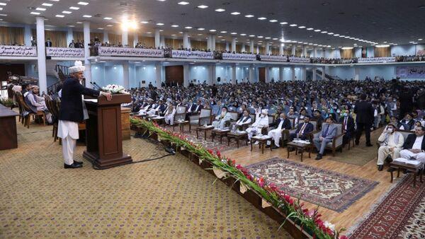El presidente afgano, Ashraf Ghani, habla ante la gran asamblea, Loya Yirga - Sputnik Mundo