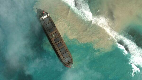 MV Wakashio, un buque que encalló frente a la costa sureste de Mauricio - Sputnik Mundo