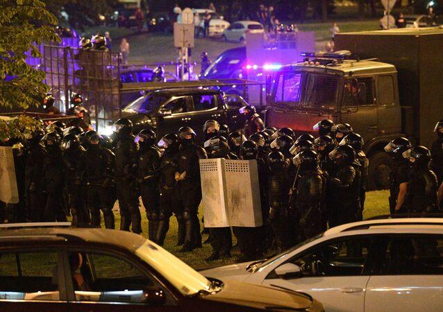 Agentes de la Policía durante las protestas en Bielorrusia