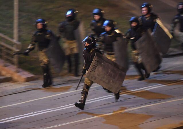 La Policía durante las protestas en Bielorrusia