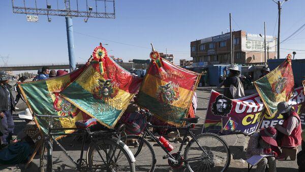 Banderas de Bolivia durante una de las manifestaciones contra la postergación de las elecciones de 2020 - Sputnik Mundo