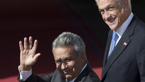 El presidente de Chile, Sebastián Piñera, y su homólogo ecuatoriano Lenín Moreno - Sputnik Mundo