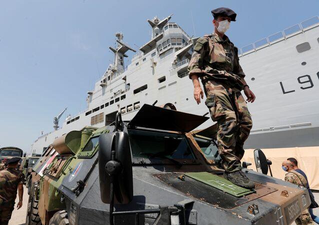 Soldados franceses en Beirut, el Líbano