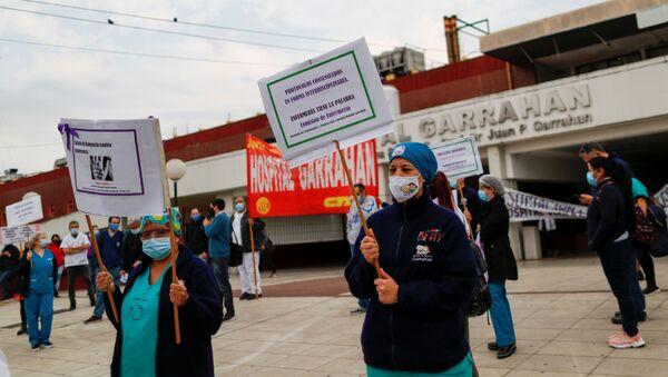 Una protesta de trabajadores médicos en Buenos Aires - Sputnik Mundo