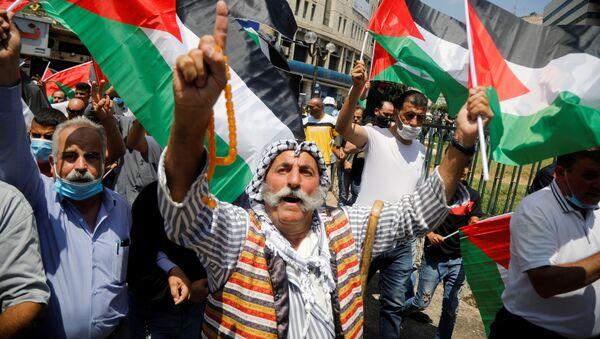 Los palestinos protestan contra el acuerdo de paz entre Israel y EAU - Sputnik Mundo