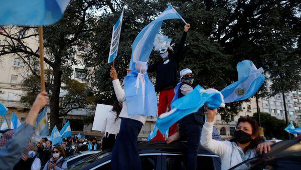 Protesta contra el Gobierno y las medidas de cuarentena en Argentina - Sputnik Mundo