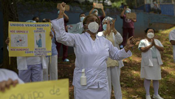Enfermeras protestando en Panamá - Sputnik Mundo
