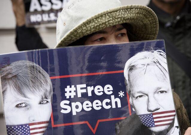 Una protesta contra la extradición de Assange (archivo)