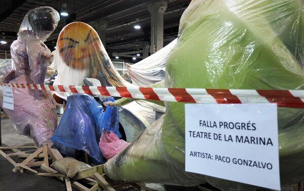 Una falla almacenada en Valencia tras la cancelación del festejo - Sputnik Mundo
