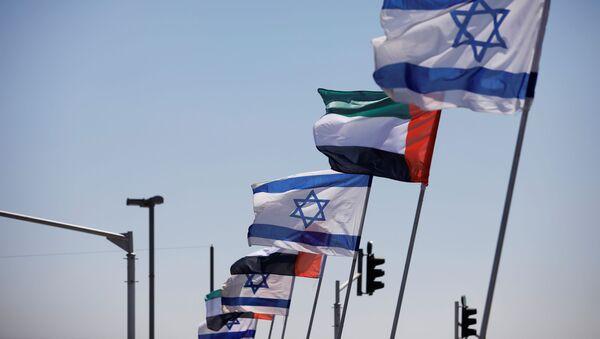 Las banderas de Israel y EAU - Sputnik Mundo