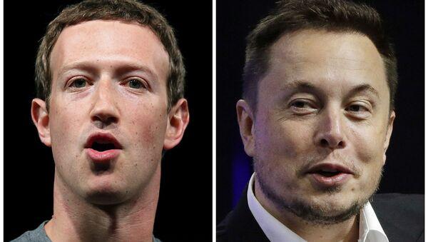 El magnate tecnológico Elon Musk y el director general de Facebook, Mark Zuckerberg - Sputnik Mundo