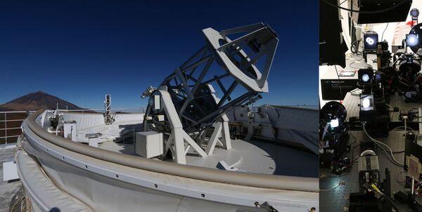 El telescopio GREGOR (izq) y el laboratorio rediseñado (drch) - Sputnik Mundo