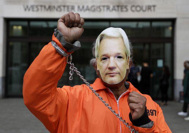 Un manifestante por la liberación del fundador de Wikileaks, Julian Assange
