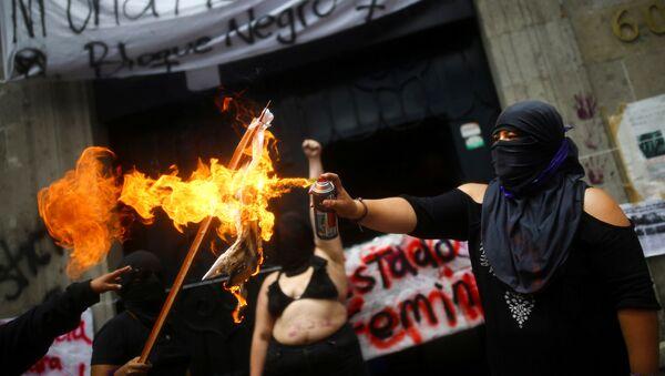 Protestas frente la Comisión Nacional de los Derechos Humanos de México - Sputnik Mundo