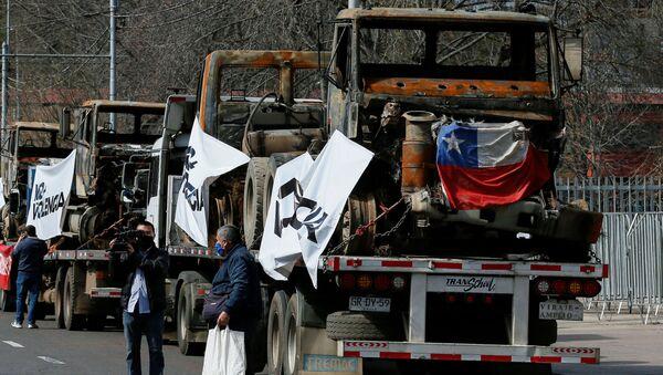 Camioneros de Chile en una huelga (archivo) - Sputnik Mundo