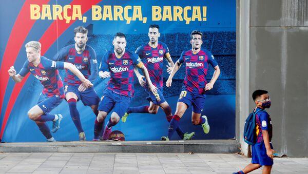 Cartel con jugadores del FC Barcelona - Sputnik Mundo
