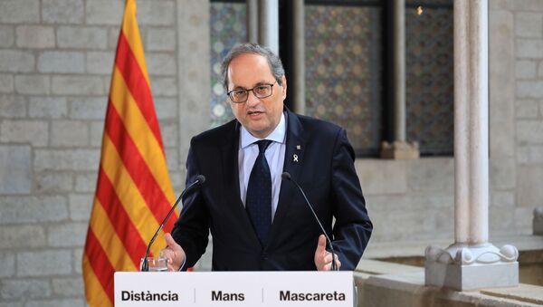 El presidente de la Generalitat de Catalunya, Quim Torra, durante un discurso en Barcelona - Sputnik Mundo