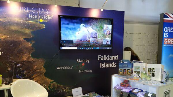 Stand de las 'Islas Falkland' en el pabellón británico de la Expo Prado 2020 en Montevideo, Uruguay - Sputnik Mundo