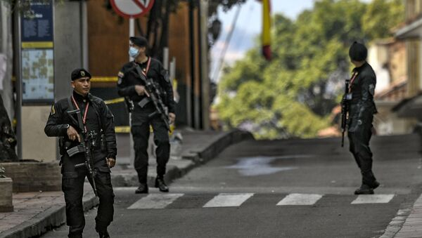 Miembros de la Policía Nacional de Colombia en Bogotá - Sputnik Mundo