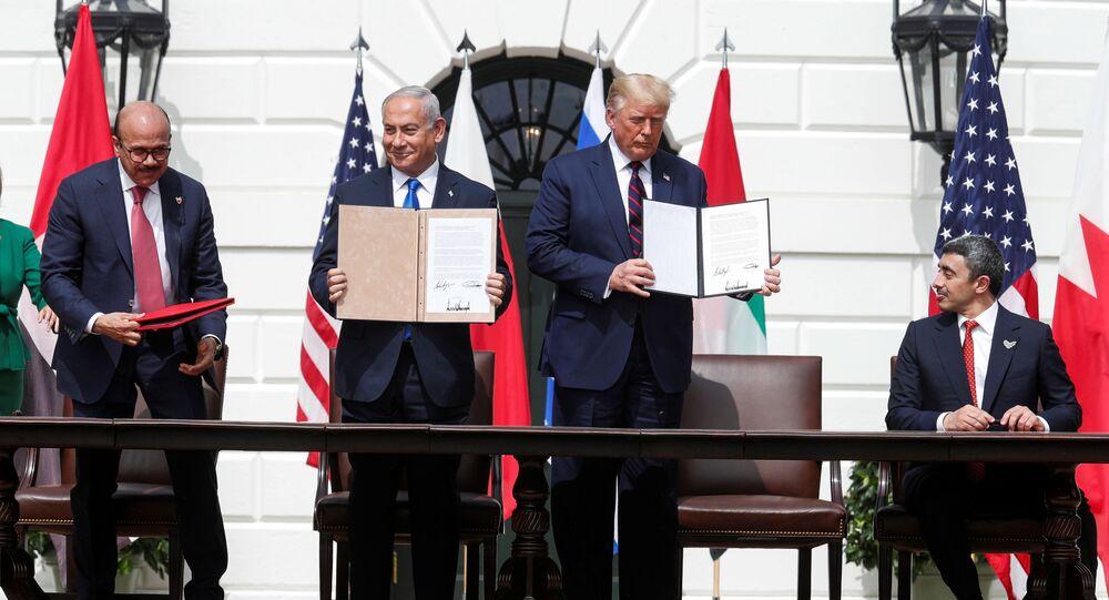 Firma de los acuerdos entre Israel, Emiratos Árabes y Bahréin en la Casa Blanca, EEUU