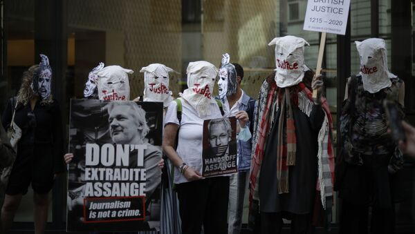 Сторонники Джулиана Ассанжа принимают участие в акции протеста перед Центральным уголовным судом Олд-Бейли в Лондоне - Sputnik Mundo