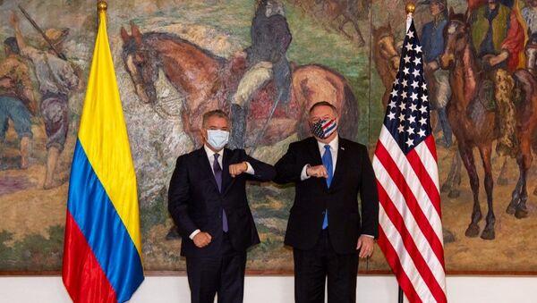 El presidente de Colombia, Ivan Duque, y el secretario de Estado de Estados Unidos, Mike Pompeo - Sputnik Mundo