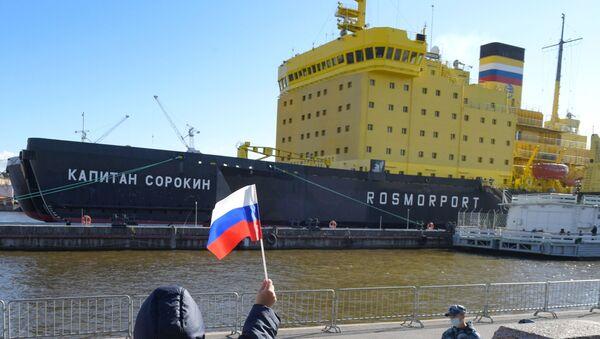 El rompehielos Capitán Sorokin en el festival internacional de rompehielos en San Petersburgo, Rusia - Sputnik Mundo