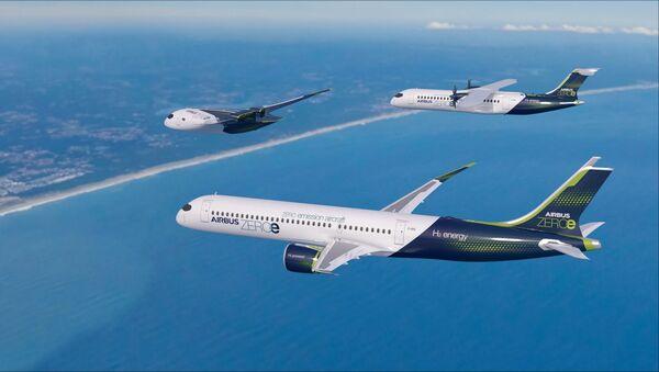 ZEROe, aeronaves propulsadas por hidrógeno de Airbus (ilustración) - Sputnik Mundo