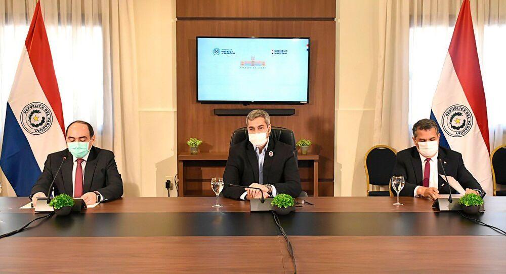 El presidente de Paraguay, Mario Abdo Benítez, durante la firma de acuerdos de cooperación con la UE