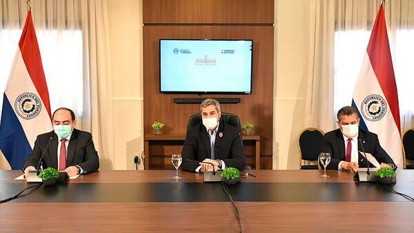 El presidente de Paraguay, Mario Abdo Benítez, durante la firma de acuerdos de cooperación con la UE - Sputnik Mundo