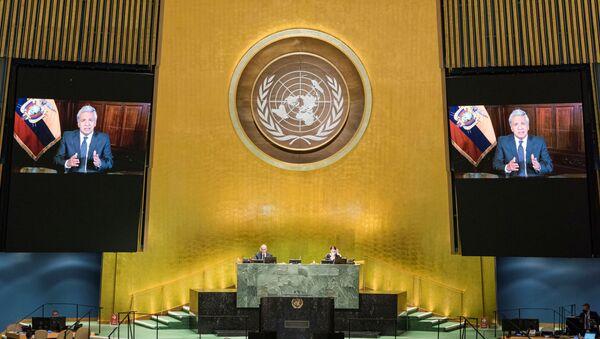 Lenín Moreno, presidente de Ecuador, durante su discurso en el Debate General de la 75 sesión de la Asamblea General de la ONU - Sputnik Mundo