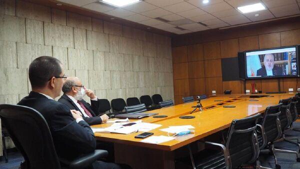 Reunión telemática entre el canciller de Venezuela, Jorge Arreaza, y su homólogo de Irán, Javad Zarif - Sputnik Mundo