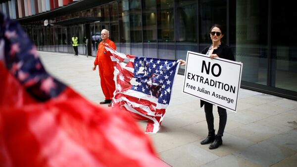 Los partidarios de Julian Assange en Londres - Sputnik Mundo