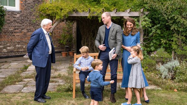 El científico británico David Attenborough visita al príncipe William y su familia - Sputnik Mundo