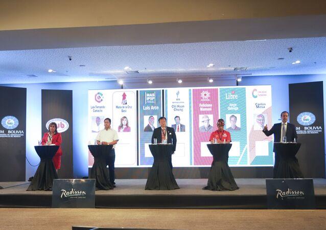 Los candidatos presidenciales de Bolivia: Luis Fernando Camacho, Maria Baya, Luis Arce, Chi Hyun Chung, Feliciano Mamani, Jorge Tuto Quiroga y Carlos Mesa