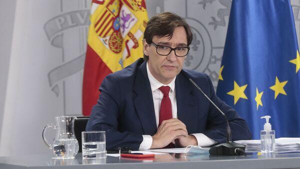 El ministro de Sanidad, Salvador Illa, durante una rueda de prensa telemática en La Moncloa. - Sputnik Mundo