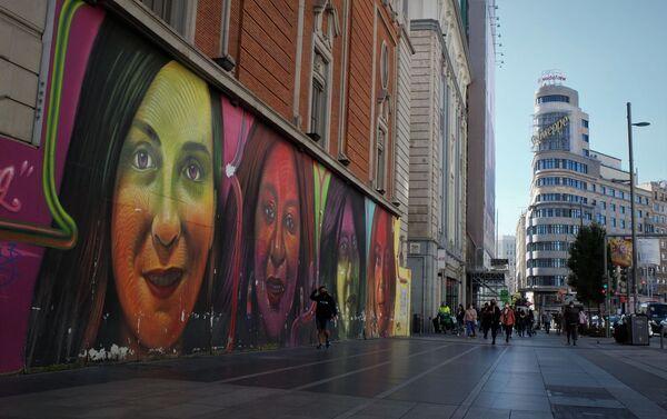 Mural en la Gran Vía de Madrid (España) - Sputnik Mundo