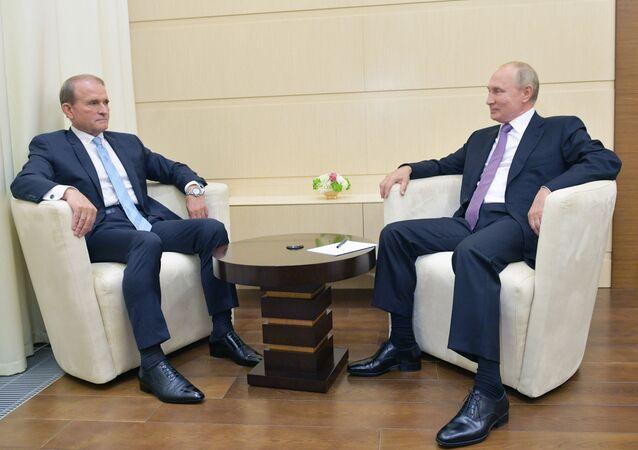 El presidente de Rusia, Vladímir Putin, y el líder del partido ucraniano, Víctor Medvedchuk
