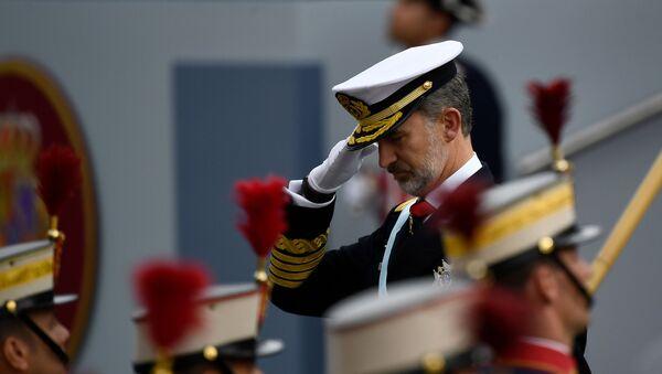 Rey Felipe VI durante el desfile militar del Día Nacional de España. 12 de octubre de 2019 - Sputnik Mundo