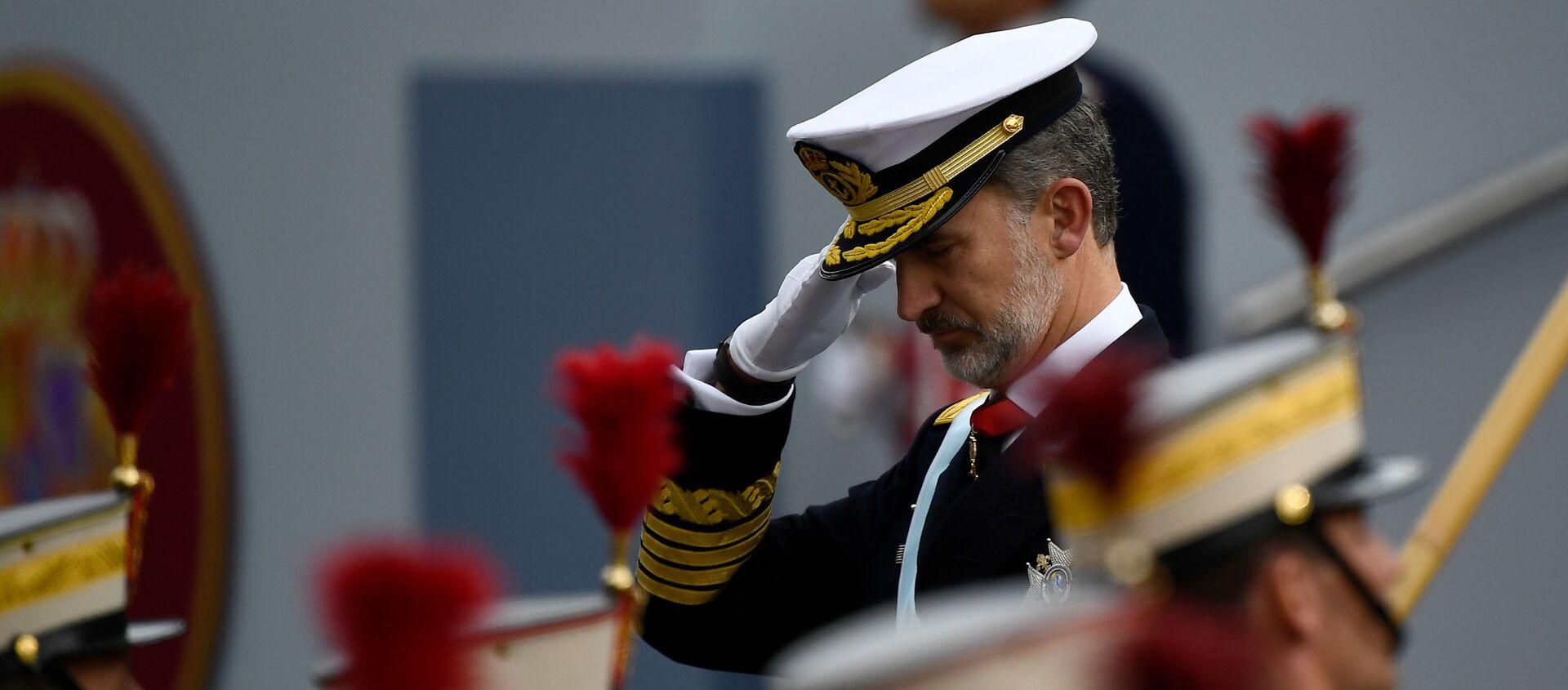 Rey Felipe VI durante el desfile militar del Día Nacional de España. 12 de octubre de 2019 - Sputnik Mundo, 1920, 12.10.2020