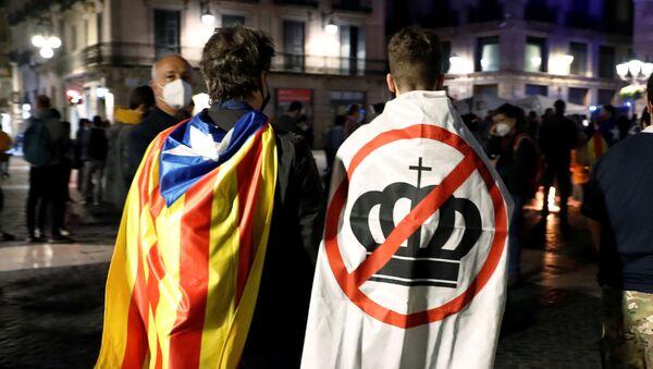 Una protesta antes de la visita del rey Felipe VI a Barcelona - Sputnik Mundo