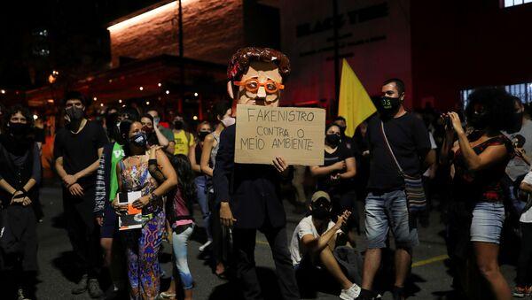 Protesta contra Ricardo Salles, ministro de Medio Ambiente de Brasil  - Sputnik Mundo