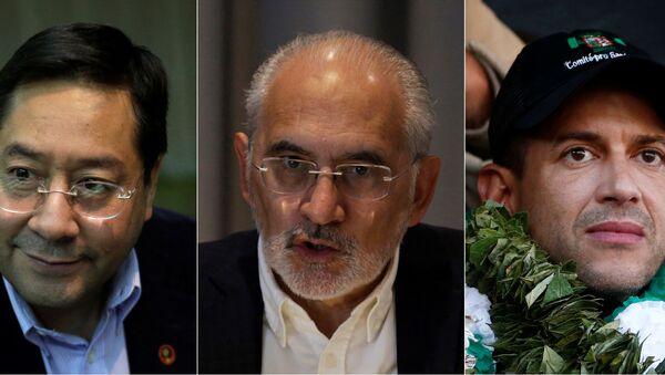 Luis Arce, Carlos Mesa y Luis Fernando Camacho, tres principales candidatos a la Presidencia de Bolivia - Sputnik Mundo