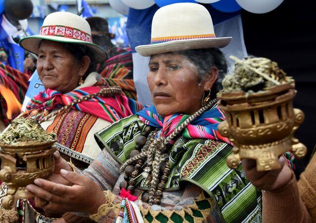 Partidarios del Movimiento al Socialismo en un acto en El Alto, Bolivia, 14 de octubre 2020