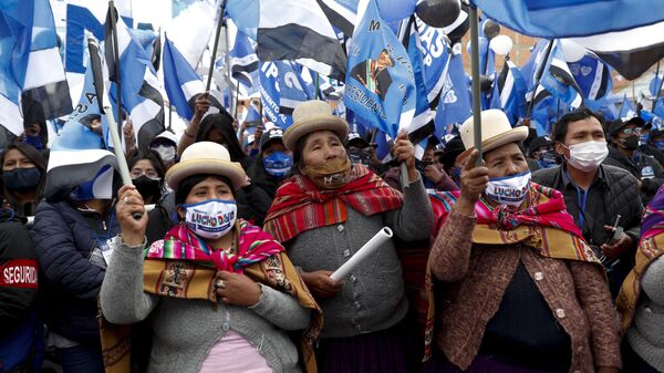 Simpatizantes del MAS en un acto en apoyo a Luis Arce. El Alto, 14 de octubre 2020 - Sputnik Mundo