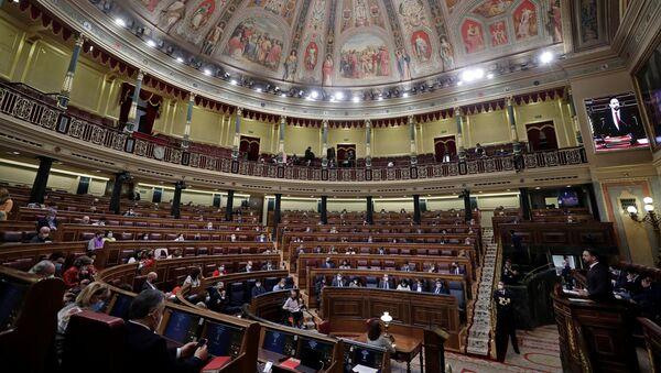 Santiago Abascal durante la moción de censura - Sputnik Mundo