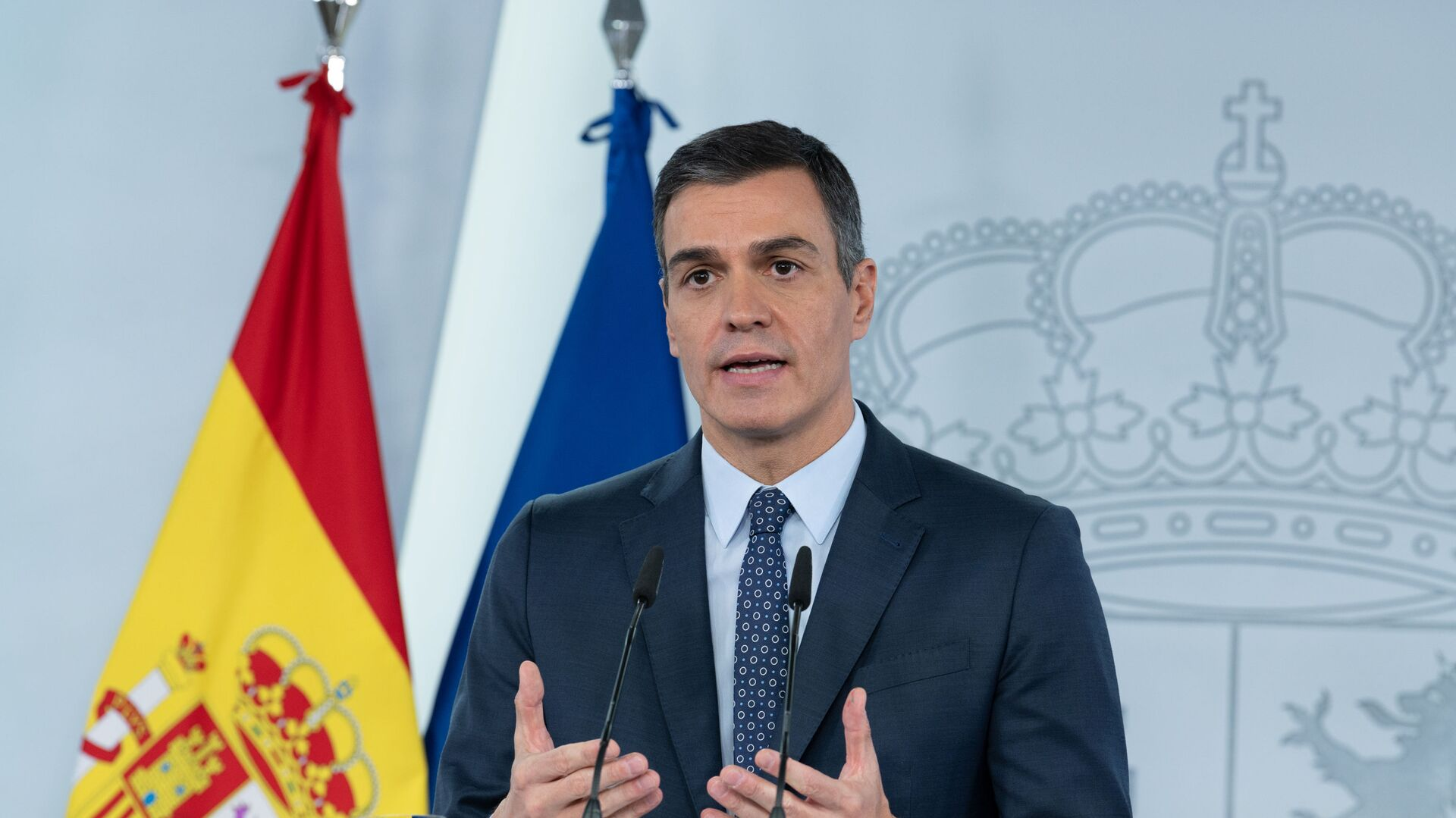 Pedro Sánchez, anunciando el estado de alarma - Sputnik Mundo, 1920, 13.04.2021