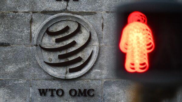 El logo de la OMC sobre su sede en Ginebra - Sputnik Mundo