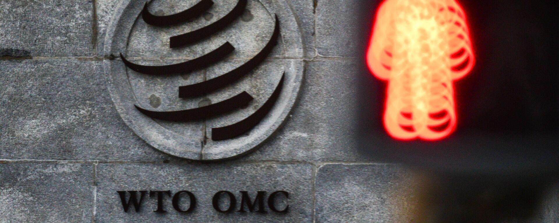 El logo de la OMC sobre su sede en Ginebra - Sputnik Mundo, 1920, 06.05.2021
