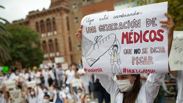 Una médico residente de huelga en España - Sputnik Mundo